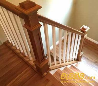 wood finished stair case